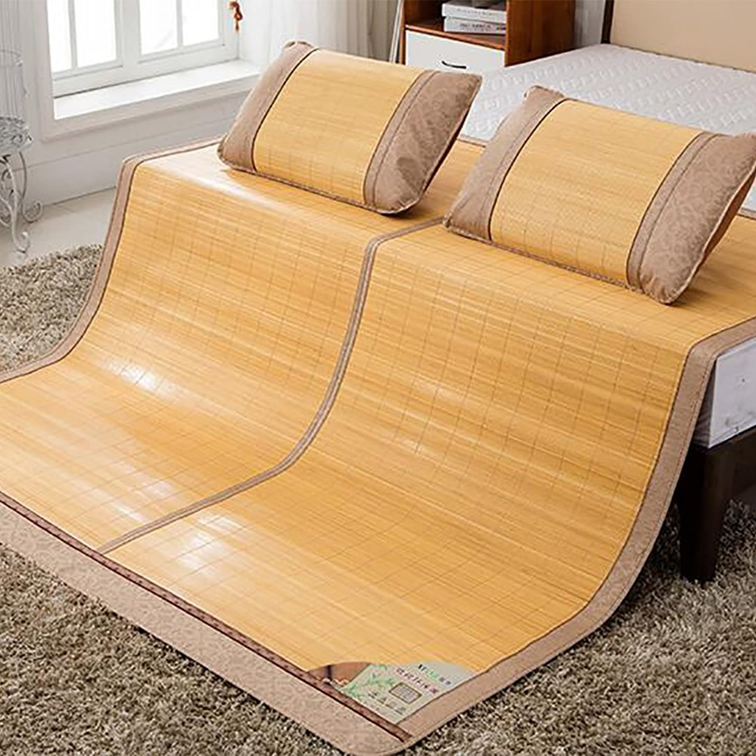 Old Bamboo mat,Skin-Friendly Breathable Single Double Summer mat Double-Sided ice Silk mat -B 120x195cm(47x77inch)