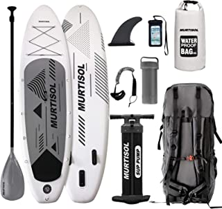 """Murtisol Pro 10.5'33""""6"""" Inflatable Paddle Board Stand Up Paddle Board with Premium Accessories Dual Chamber Triple Action Pump 10L Waterproof Bag Adjustable Paddle Ankle Leash Multifunction Bag"""