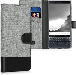 kwmobile Wallet Case for BlackBerry KEYtwo LE (Key2 LE) - Fabric and PU Leather Flip Cover with Card Slots and Stand - Grey/Black