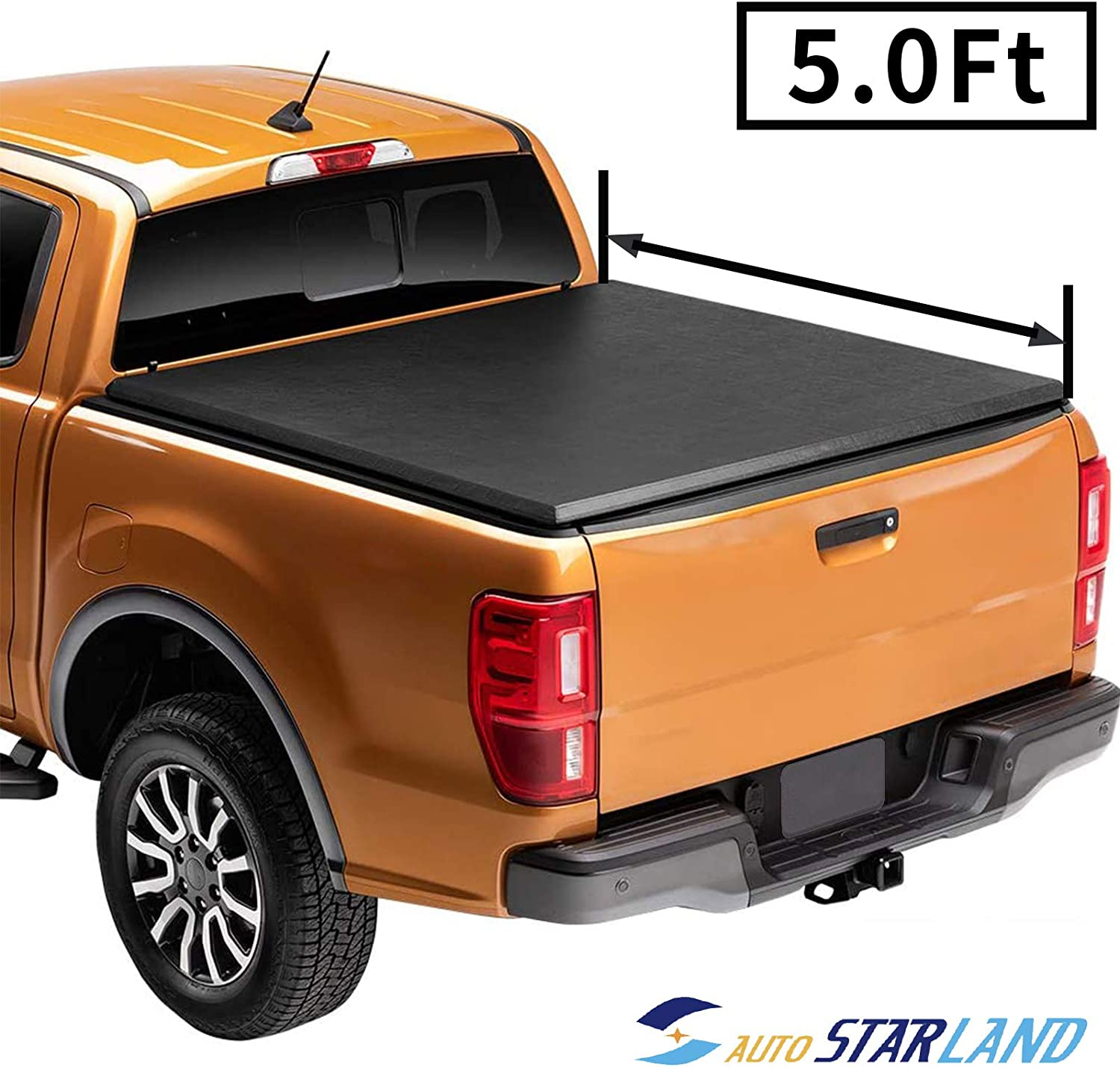 PICKUPZONE Soft 67% OFF of fixed price Columbus Mall Tri-Fold 5ft Adjustable Cover Top Tonneau Protec