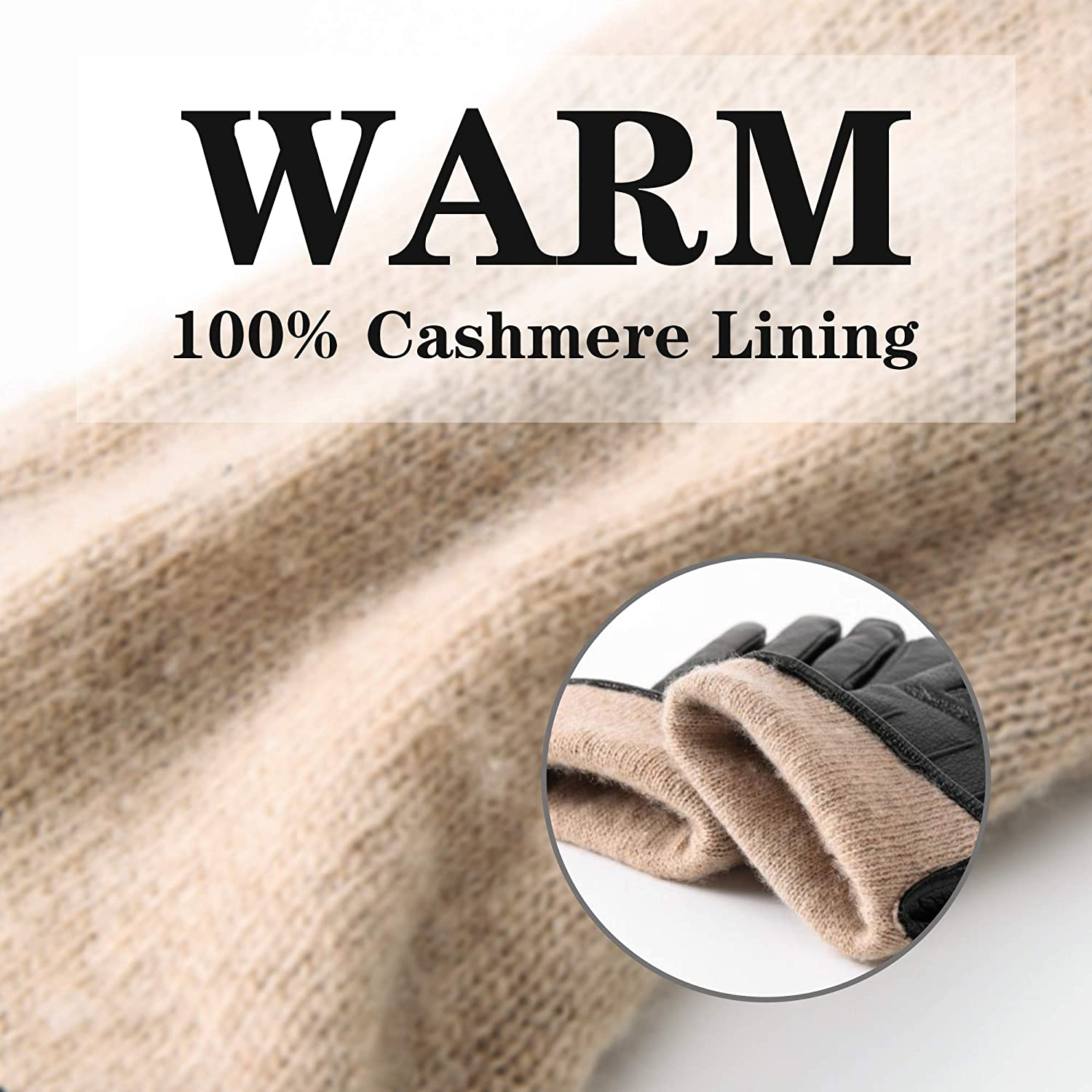 Ladies Women Genuine Leather Gloves Cashmere Lined Winter Thermal Warm Slim Soft Touchscreen Gloves