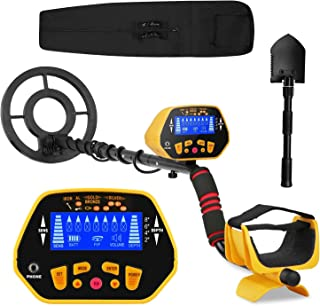 Canway Metal Detector High Accuracy Adjustable Waterproof Metal Finder, LCD Display with Light, Carrying Bag and Shovel Included, 7 Target Categories, Depth Indication, Audio Prompt, with P/P Function