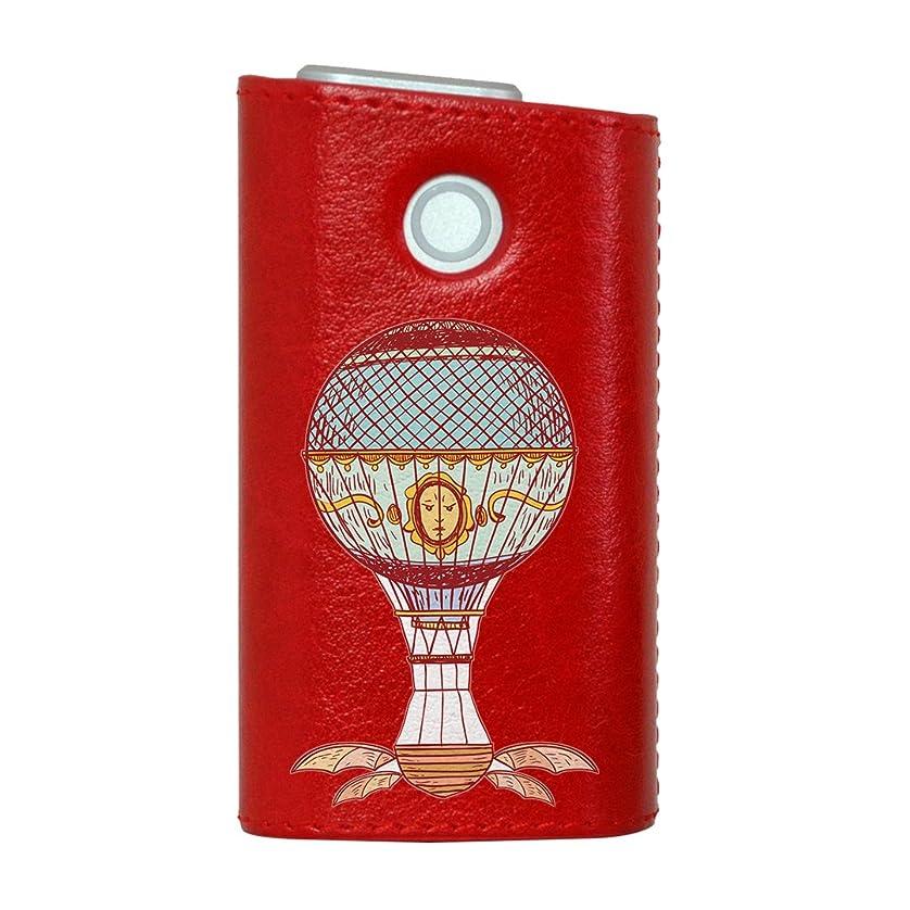 底慣性無条件glo グロー グロウ 専用 レザーケース レザーカバー タバコ ケース カバー 合皮 ハードケース カバー 収納 デザイン 革 皮 RED レッド 気球 乗り物 011364