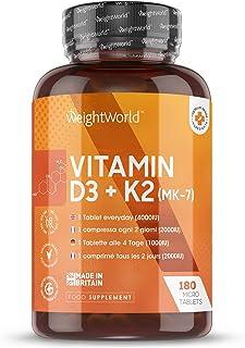 Vitamina D3 K2. 180 Comprimidos - Vitamina D3 4000UI. Vitamina K2 100 µg. Máxima Absorción y Biodisponibilidad MK7 99.7% All-Trans. Estimula Sistema Inmunológico y Favorece la Absorción
