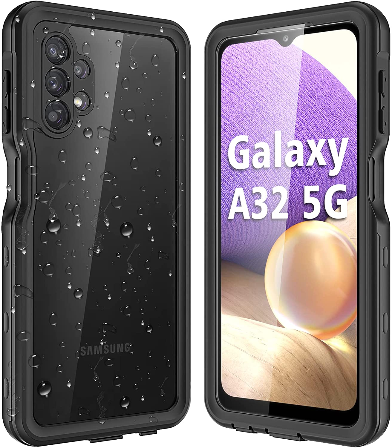 OUCAM for Samsung Galaxy A32 5G Case with Built in Screen Protector Waterproof Shockproof Dustproof Dropproof Phone Case for Galaxy A32 5G Full Body Protection Samsung A32 5g Case (Black)