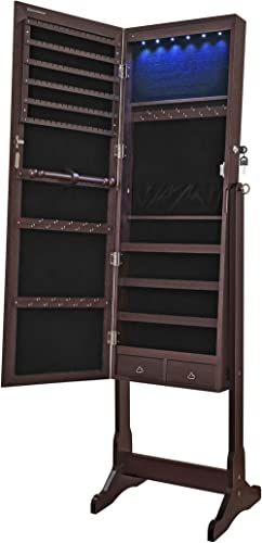 SONGMICS 6 LEDs Jewelry Cabinet Armoire, Lockable Standing Jewelry Organizer, Large Capacity with 2 Drawers, 3 Angel ...
