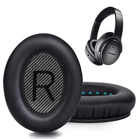 boseヘッドホン イヤーパッド イヤークッション ヘッドフォン パッド 交換用 Bose QuietComfort 35&35ⅱ 適用音漏れ防止 PUレザー 1ペア入れ (black)