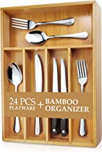 Teivio 24-Piece Silverware Set, Flatware Set Mirror Polished, Dishwasher Safe Service for 4, Include Knife/Fork/Spoon with Bamboo 5-Compartment Silverware Drawer Organizer Box