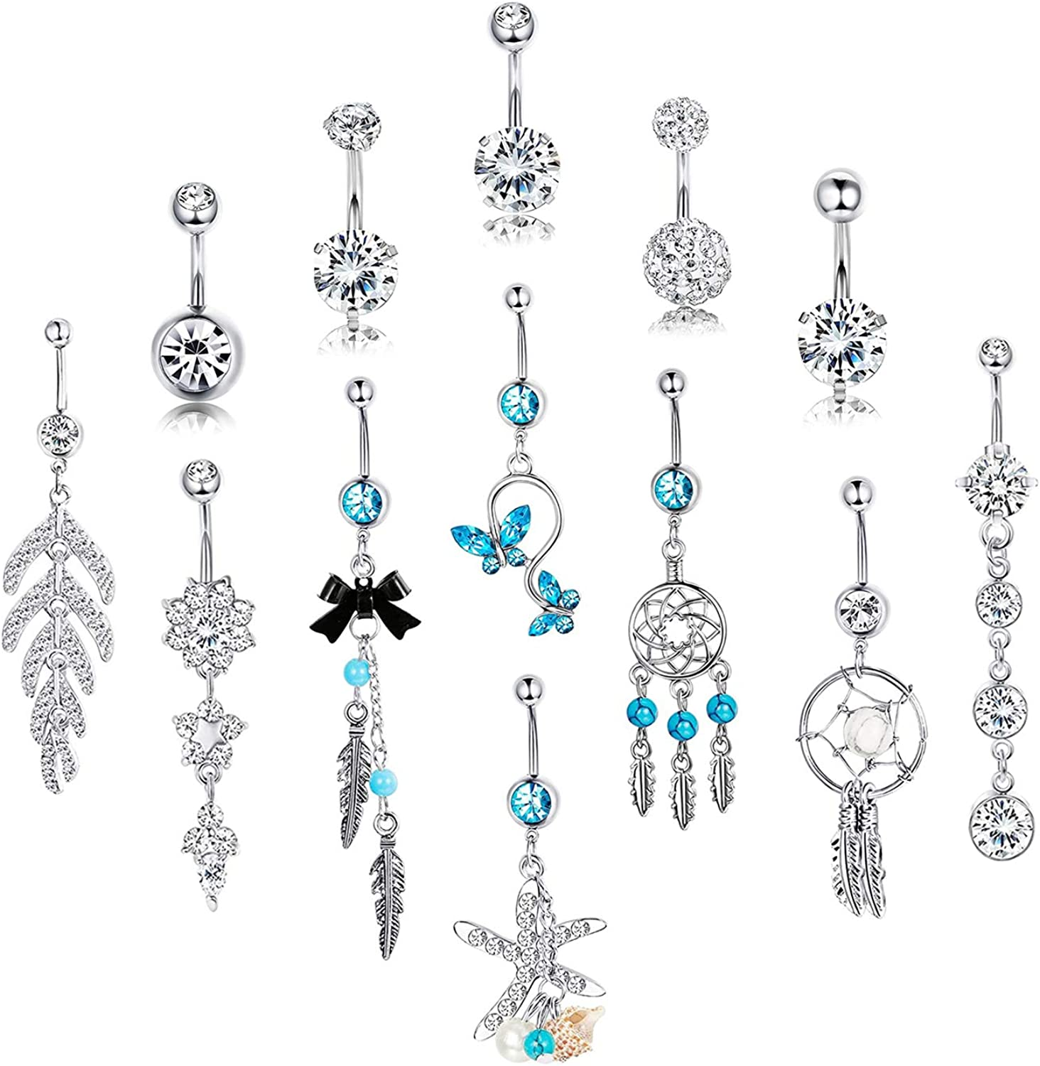 SAILIMUE 13 Pcs 14G Belly Button Rings for Women Cz Curved Navel Barbell Stainless Steel Body Jewelry Piercing Dangle Belly Button Rings
