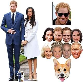 BundleZ-4-FanZ Fan Packs Prince Harry & Meghan Markle Cardboard Cutout Fan Pack - & Mask Silver Royal Wedding 2018 Party Package