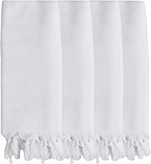 DEMMEX 2019 Natural Turkish Cotton Diamond Weave Bath Beach Fouta Towel Blanket & Hand Face Towel Wash Dish Cloth Set (4 Hand, White)