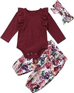 3PCS Clothes Set Newborn Toddler Baby Girl Romper Bodysuit Jumpsuit Floral Halen Pants Outfit Clothes