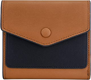 Small Leather Wallet for Women, RFID Blocking Women's Credit Card Holder Mini Bifold Purse Pocket (Stripe Brown & Black)