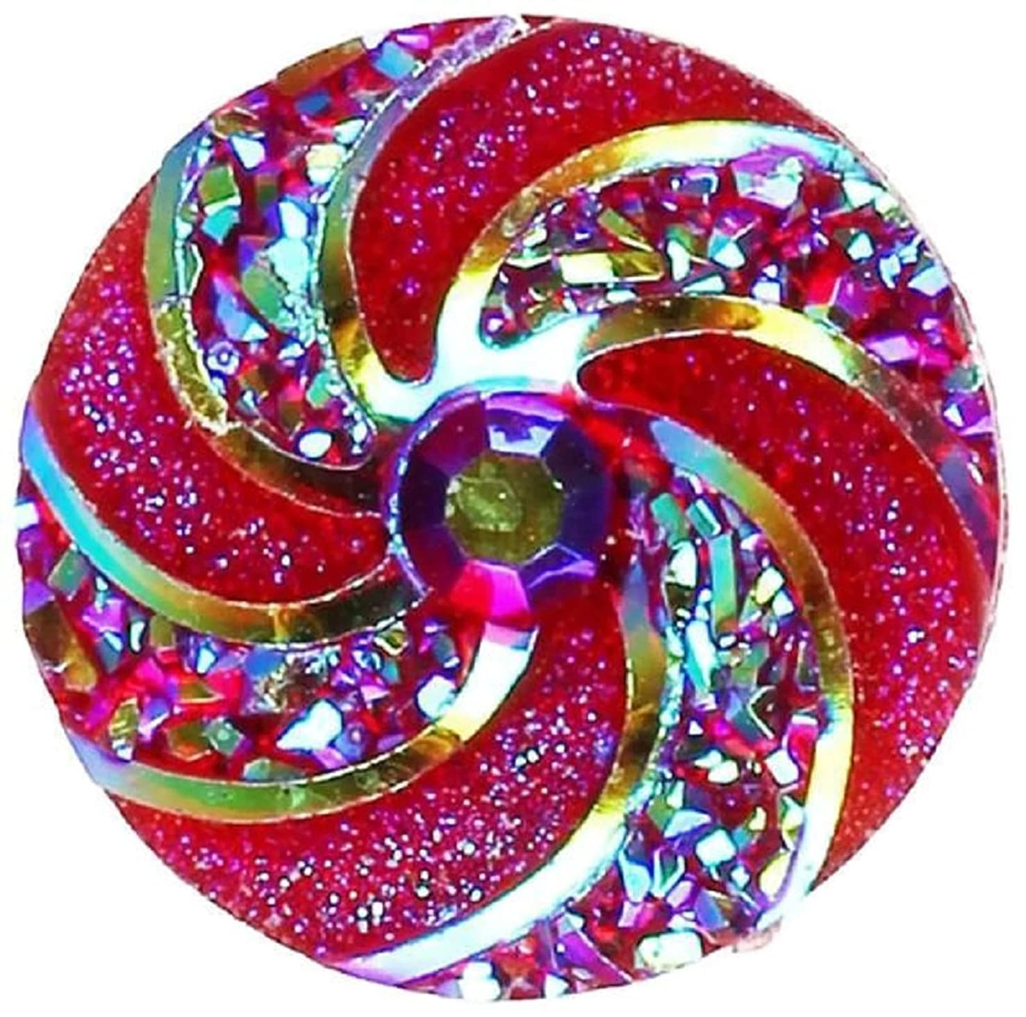 Pizazz Studios Red Iridescent Swirl Snap Charm Button