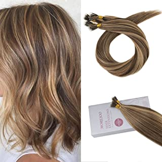 Moresoo Micro Nano Ring Hair Extensions Human Hair Brown #4 Highlighted with Caramel Blonde 16 Inch 50 Strands 40g 100% Real Human Hair Extensions
