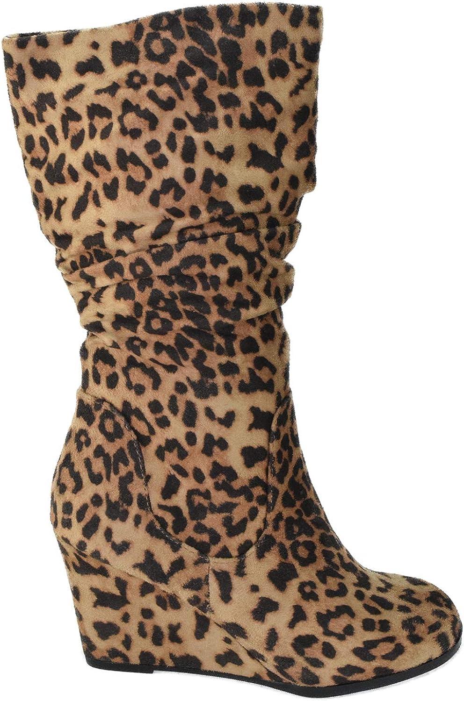 Soda Women Wedge Heel Slouchy Mid Calf Boots Side Zipper Faux Suede Oblong-S