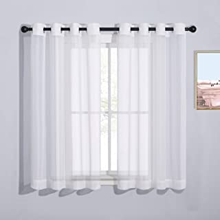 NICETOWN Bedroom Sheer Curtains 54 inch Length - Grommet Top Voile Textured Window Curtains Light and Airy Drapes for Caf...