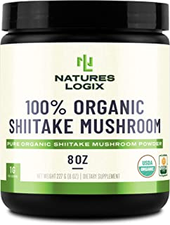 Natures Logix Shiitake Mushroom Powder - Certified USDA Organic - Pure Organic Shiitake Mushroom Powder