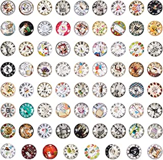 PH PandaHall 70 Styles 25mm Clock Mosaic Printed Picture Glass Half Round Dome Cabochons Tiles for Jewelry Making, Clock Series