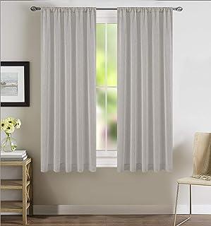 TEXPLUS Set of 2 Pieces Rod Pocket Solid Faux Linen Sheer Curtain Panels with Tie Backs (Linen Gray, 2x52 Wx63 L)