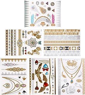 Beaupretty Metallic Nep Tattoos Glinstering Tijdelijke Tattoos Sticker Gouden Tattoo Stickers Armbanden Veren Pols Vogel V...
