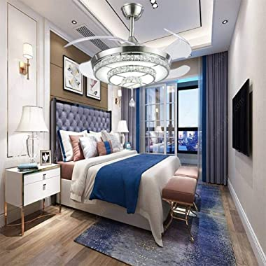 KALRI Modern 42'' Crystal Chandelier Ceiling Fan for Living Room Bedroom with LED Light Kit and Remote Control Invisi