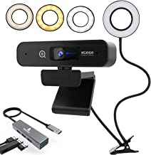 2021 Live Streaming Kit, 2K Webcam with 3X Digital Zoom and Microphone, Support 1080P@ 60FPS, 3.5 Inch Selfie Ring Light, ...