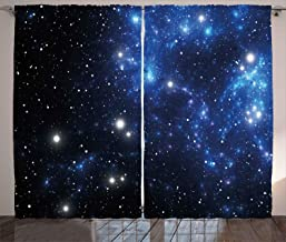 Constellation gardiner av Ambesonne, yttre rymden stjärna nebula astronomi tema galax mysterium, vardagsrum sovrum fönster...