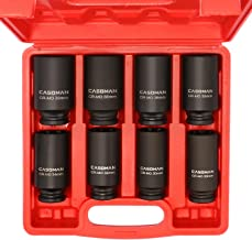 CASOMAN 1/2-Inch Drive Deep Spindle Axle Nut Impact Socket Set,12 Point, Metric, CR-MO, 29,30 32 34 35,36,38,39mm, 8 Piece 1/2