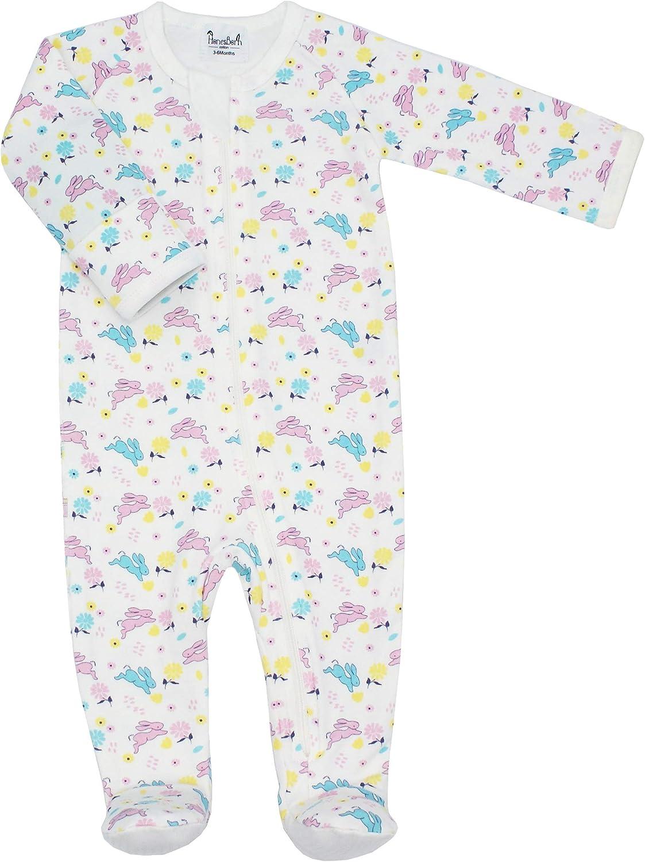 HonesBorn Baby Cotton Pajamas, Boy Girl Zip Footed Sleeper Infant Romper