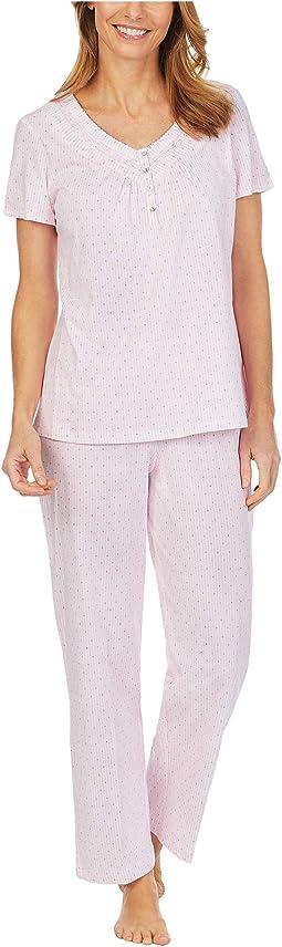 Soft Jersey Short Sleeve Long Pajama Set