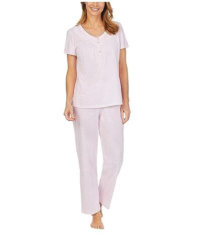 Carole Hochman Soft Jersey Short Sleeve Long Pajama Set (Pink Stripe/Dot) Women