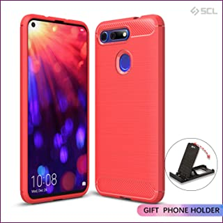 SCL [Red] Case for Honor View 20, Carbon Fibre Effect Gel Grip Protection Cover [Anti Scratch][Anti Collision] Compatible with The Honor View 20
