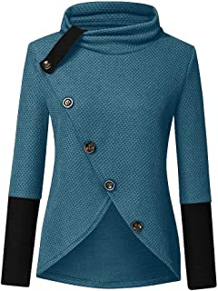 Womens Button Turtle Cowl Neck Pullover Asymmetric Hem Wrap Sweater Patchwork Chunky Tops