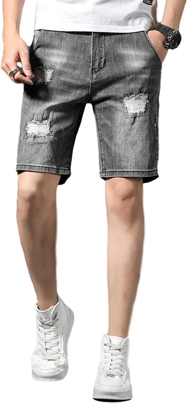LLTT Men's Stretch Slim Fit Denim Shorts Broken Holes Torn Edges Fringe Fashion