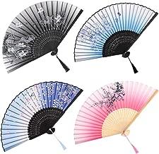Faburo Lot de 4 Ventilateurs Pliantes Éventail Pliant Poche Ventilateurs Pliables en Bambou avec Gland Pliante Ventilateur de Femme (Bleu Foncé, Bleu Ciel, Rose, Dégradé Noir)
