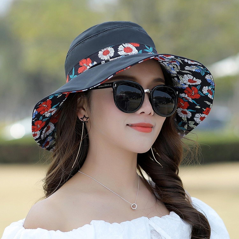 SSBY Hat Female Outdoor Summer Sun Hat Sunscreen Travel Cap Folding Yan Sun Hat Women's Simple Leisure Beach Hat
