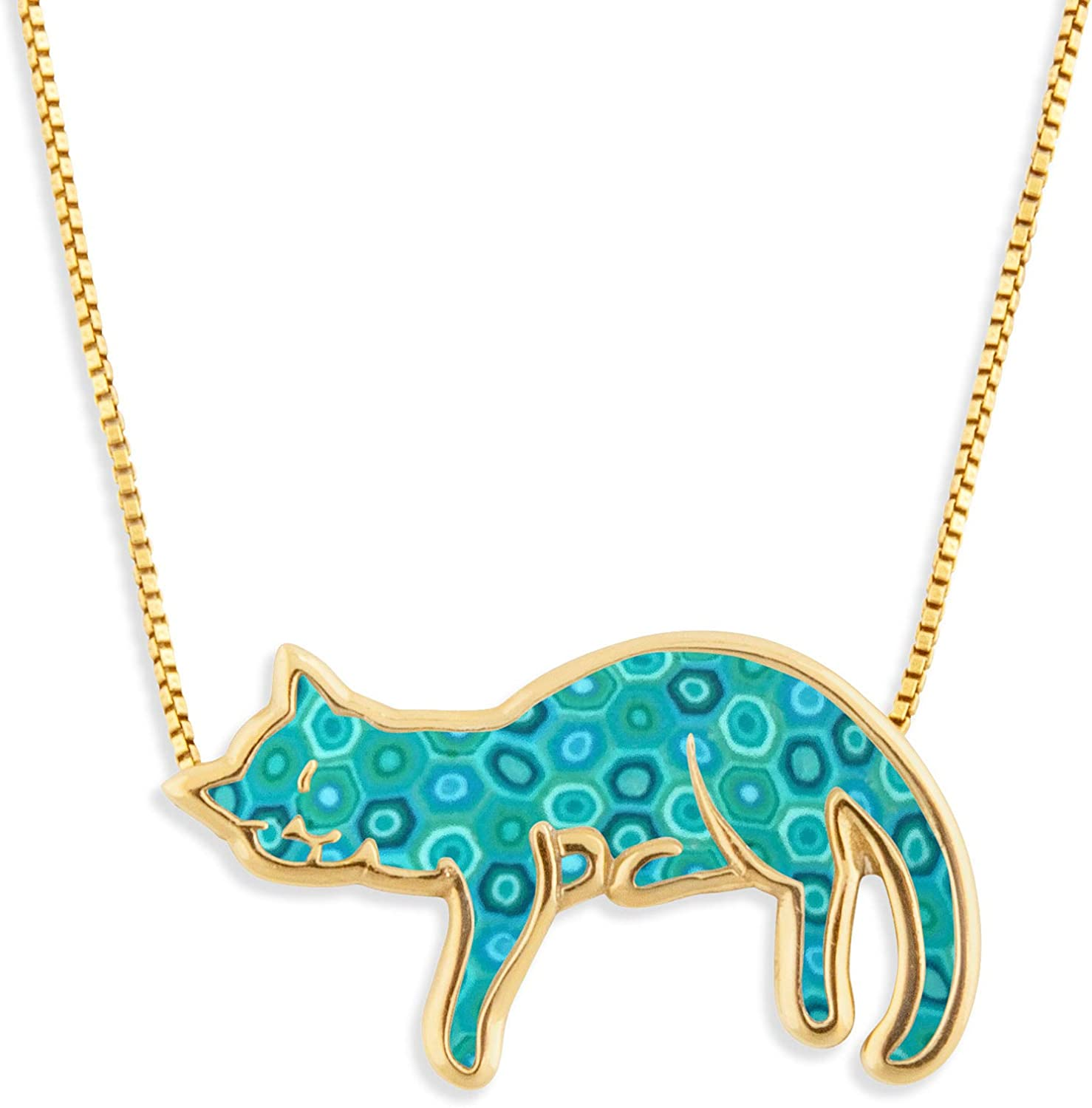 Gold Plated 925 Sterling Ranking TOP5 Silver Necklace Sleeping Pet Cat Lover New popularity