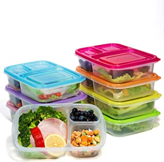 Meal Prep Containers 7 Pack,Bento Lunch Boxes - 3 Compartment Food Storage Container with Lids,Portion Control,Microwave,Dishwasher,Freezer Safe(26oz)