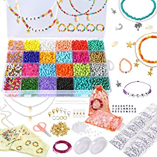 PP OPOUNT Jewelry Making Kit Includes 5500 Pieces Glass Seed Beads and 520 Pieces Alphabet Beads Letter Beads for DIY Arts...