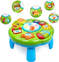 UNIH Baby Activity Table for 1 Year Old, Musical Activity Center Learning Toys with Lighting & Sound for 6 to 12-18 Months...