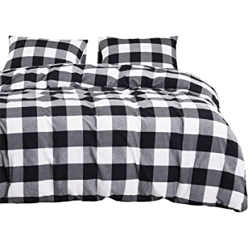 Wake In Cloud - Washed Cotton Duvet Cover Set, Buffalo Check Gingham Plaid Geometric Checker Printed in White Black and Gray, 100% Cotton Bedding, with Zipper Closure (3pcs, Queen Size)