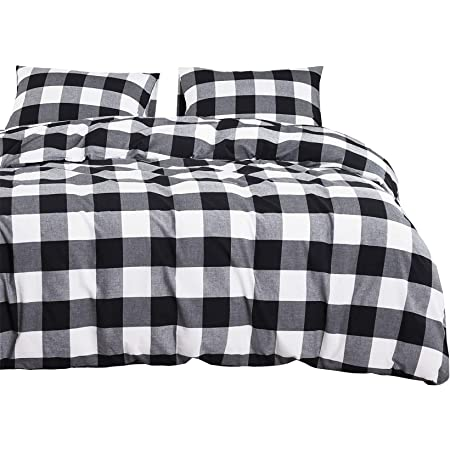 Wake In Cloud - Washed Cotton Duvet Cover Set, Buffalo Check Gingham Plaid Geometric Checker Printed in White Black and Gray, 100% Cotton Bedding, with Zipper Closure (3pcs, King Size)