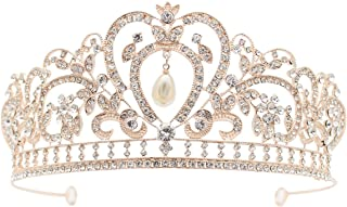 Frcolor Baroque Tiara Crown Heart-Shaped Crystal Hair Band Bride Headwear for Wedding Party Engagement (Rose Gold)