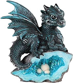 StealStreet SS-G-71581, Blue Medieval Baby Dragon with Crystal Egg Nest Decorative Figurine, 7871581
