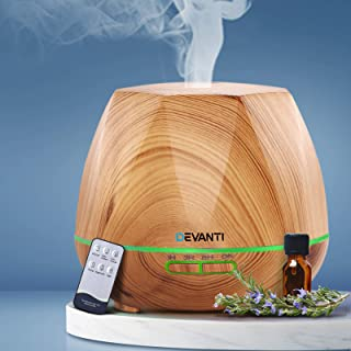 Devanti Aroma Diffuser Ultrasonic Aroma Aromatherapy Diffuser Oil Electric 7 LED Colours Air Humidifier - Light Wood 400ML