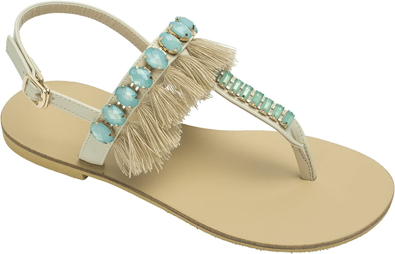 AnnaKastle Womens Beaded Thong Flip Flop Sandal