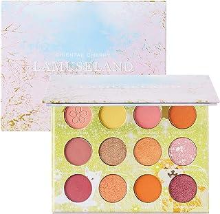 LAMUSELAND 12 Colors Eye Shadow Pallete Matte Shiny Eyeshadow 14.4g (LA5003 Oriental Cherry)