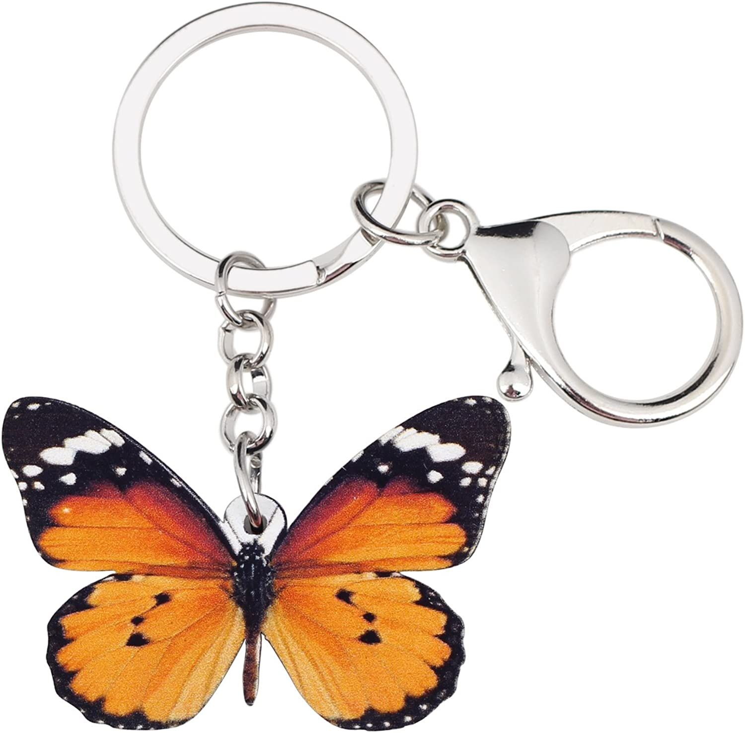 BONSNY Patterned Acrylic Danaus Chrysippus Butterfly Keychains For Women Kids Car Key Bag Rings Pendant Charms Gifts