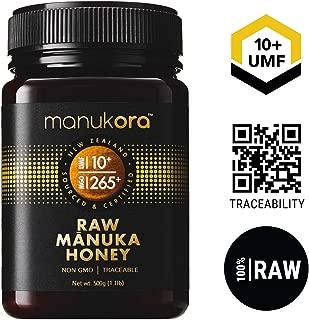 Manukora UMF 10+/MGO 265+ Raw Mānuka Honey (500g/1.1lb) Authentic Non-GMO New Zealand Honey, UMF & MGO Certified, Traceable from Hive to Hand …